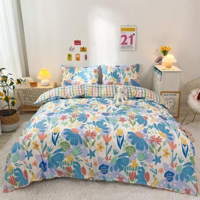 2021新款-全棉四件套 1.5m床单款四件套 叶影