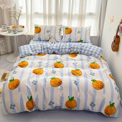 2021新款-全棉印花四件套 1.5m床单款四件套 胡柚