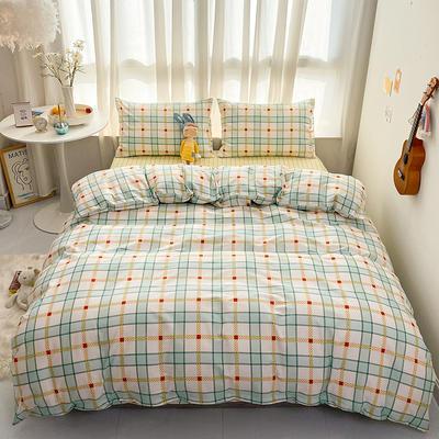 2021新款-全棉印花四件套 1.5m床单款四件套 黄绿格