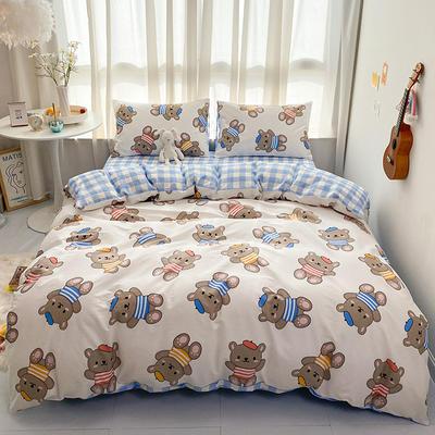 2021新款-全棉印花四件套 1.5m床单款四件套 小熊宝贝