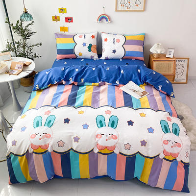 2021全棉印花四件套 1.5m床单款四件套 彩虹小兔