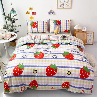 2021全棉印花四件套 1.5m床单款四件套 条纹草莓