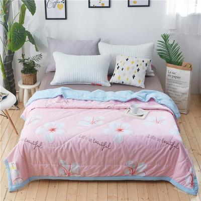 A版棉B版水洗棉夏被 150x200cm 幸福朵朵粉