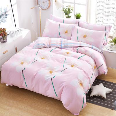 2018新款全棉12868床笠、床单款四件套 1.0-1.2床床单款三件套 澜舞粉