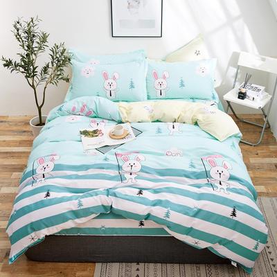 2018新款全棉12868多规格四件套 1.0m(3.3英尺)床三件套 欢乐兔兰