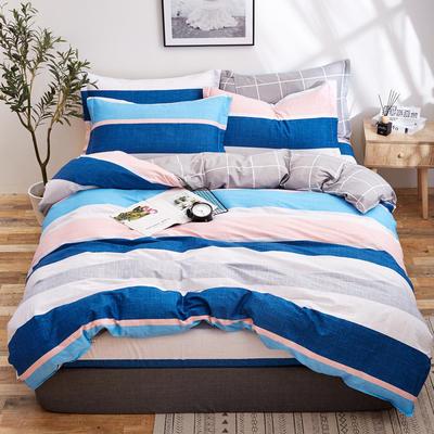 2018新款全棉12868多规格四件套 1.0m(3.3英尺)床三件套 蓝色格调