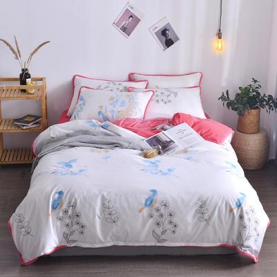 2018新款A版水洗棉B版水晶绒的四件套 1.2m(4英尺)床三件套 大菠萝