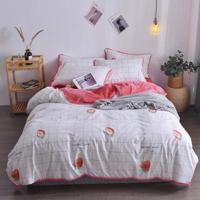 2018新款A版水洗棉B版水晶绒的四件套 1.2m(4英尺)床三件套 草莓