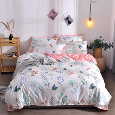 2018新款A版水洗棉B版水晶绒的四件套 1.2m(4英尺)床三件套 芙蓉玉