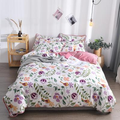 2018新款A版水洗棉B版水晶绒的四件套 1.2m(4英尺)床三件套 洛森