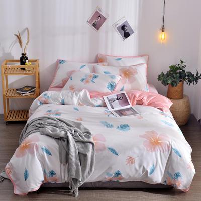 2018新款A版水洗棉B版水晶绒的四件套 1.2m(4英尺)床三件套 木槿