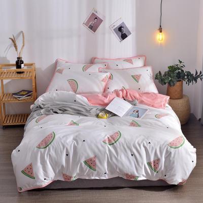 2018新款A版水洗棉B版水晶绒的四件套 1.2m(4英尺)床三件套 西瓜红