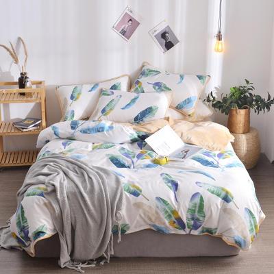 2018新款A版水洗棉B版水晶绒的四件套 1.2m(4英尺)床三件套 雨露