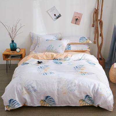 2018新品A版全棉B版水晶绒四件套 1.2m(4英尺)床三件套 芭蕉叶语
