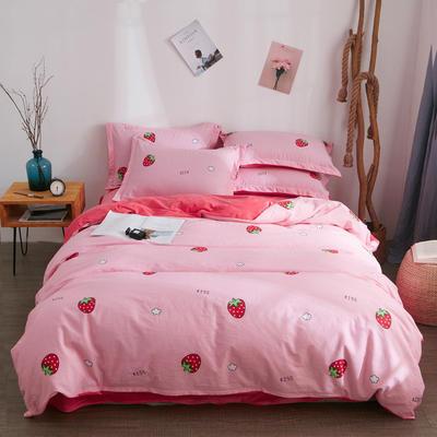 2018新品A版全棉B版水晶绒四件套 1.2m(4英尺)床三件套 草莓甜心