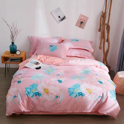 2018新品A版全棉B版水晶绒四件套 1.2m(4英尺)床三件套 大城小爱粉