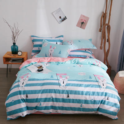2018新品A版全棉B版水晶绒四件套 1.2m(4英尺)床三件套 欢乐兔兰