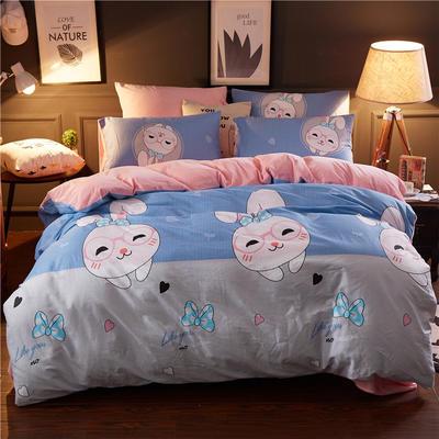 2018新品A版全棉B版水晶绒四件套 1.2m(4英尺)床三件套 欢喜你兰