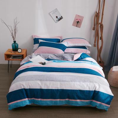 2018新品A版全棉B版水晶绒四件套 1.2m(4英尺)床三件套 蓝色格调