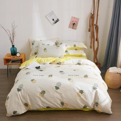 2018新品A版全棉B版水晶绒四件套 1.2m(4英尺)床三件套 马可菠萝