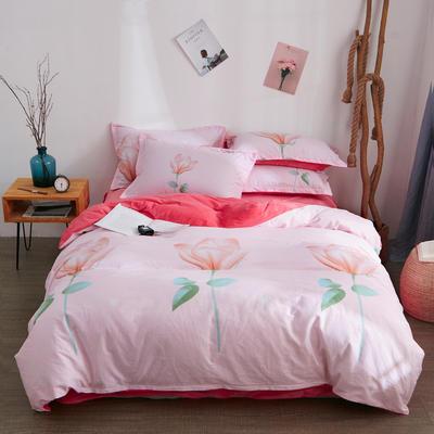2018新品A版全棉B版水晶绒四件套 1.2m(4英尺)床三件套 郁金香