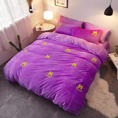 2018新品毛巾绣水晶绒四件套 1.8m(6英尺)床 蝴蝶结紫
