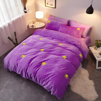 2018新品毛巾绣水晶绒四件套 1.5m(5英尺)床 皇冠紫