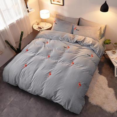 2018新品毛巾绣水晶绒四件套 1.8m(6英尺)床 火烈鸟灰
