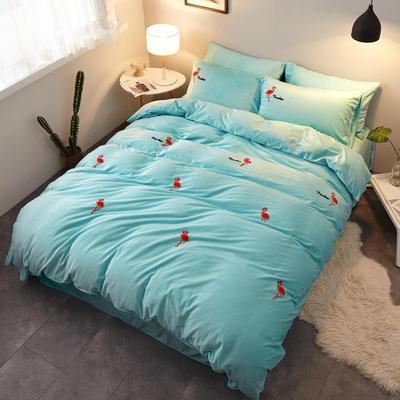 2018新品毛巾绣水晶绒四件套 1.5m(5英尺)床 火烈鸟绿