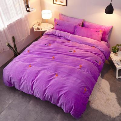 2018新品毛巾绣水晶绒四件套 1.5m(5英尺)床 火烈鸟紫