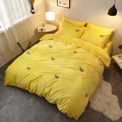 2018新品毛巾绣水晶绒四件套 1.8m(6英尺)床 鲸鱼黄