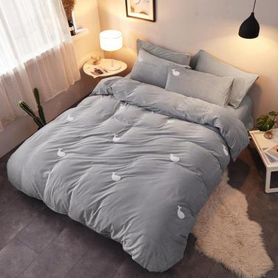 2018新品毛巾绣水晶绒四件套 1.8m(6英尺)床 鲸鱼灰