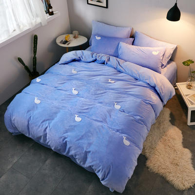 2018新品毛巾绣水晶绒四件套 1.8m(6英尺)床 鲸鱼兰