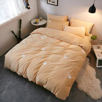 2018新品毛巾绣水晶绒四件套 1.8m(6英尺)床 鲸鱼驼黄