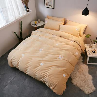 2018新品毛巾绣水晶绒四件套 1.5m(5英尺)床 兔乖乖黄