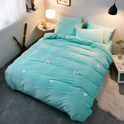 2018新品毛巾绣水晶绒四件套 1.5m(5英尺)床 兔乖乖绿