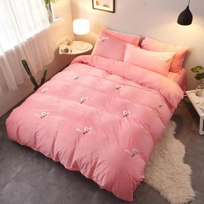 2018新品毛巾绣水晶绒四件套 1.8m(6英尺)床 小花粉