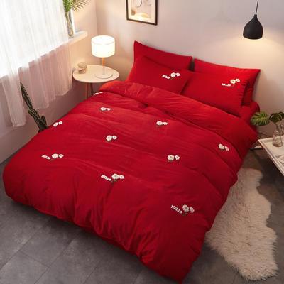 2018新品毛巾绣水晶绒四件套 1.8m(6英尺)床 小花红