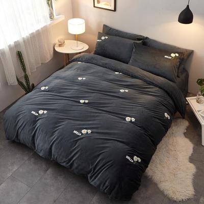 2018新品毛巾绣水晶绒四件套 1.8m(6英尺)床 小花灰
