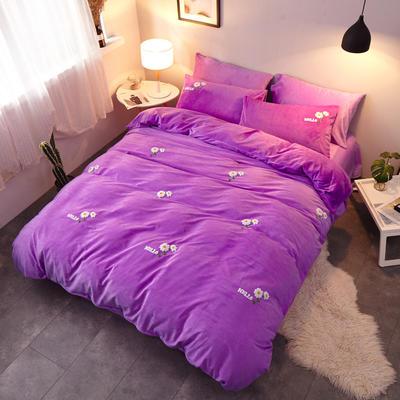 2018新品毛巾绣水晶绒四件套 1.8m(6英尺)床 小花紫