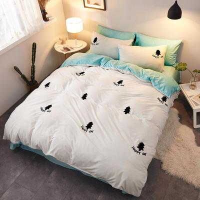 2018新品毛巾绣水晶绒四件套 1.8m(6英尺)床 小森林白绿