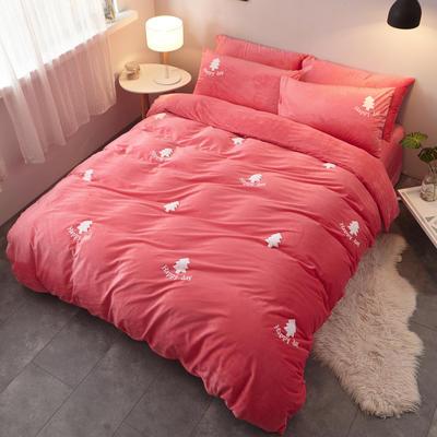 2018新品毛巾绣水晶绒四件套 1.5m(5英尺)床 小森林粉