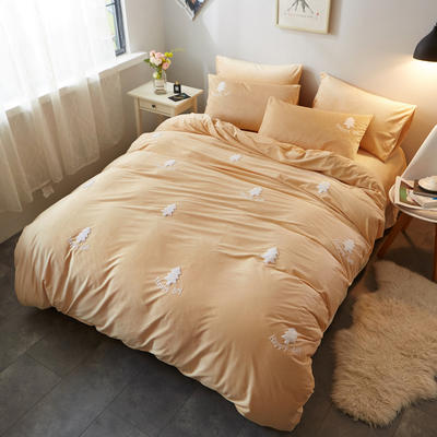 2018新品毛巾绣水晶绒四件套 1.8m(6英尺)床 小森林黄
