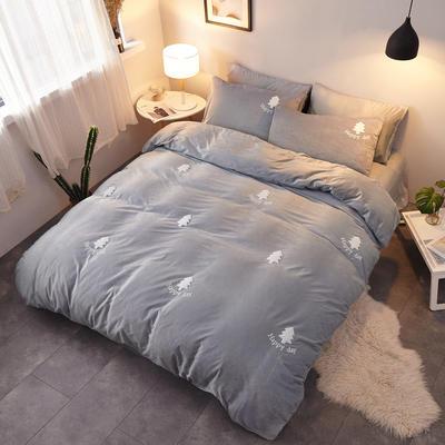 2018新品毛巾绣水晶绒四件套 1.5m(5英尺)床 小森林灰