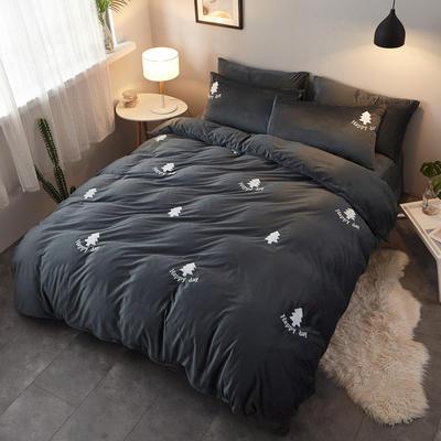 2018新品毛巾绣水晶绒四件套 1.8m(6英尺)床 小森林深灰