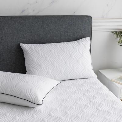 2019新款纯色水洗棉夹棉枕套 48cmX74cm/对 波浪纹-白