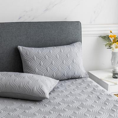 2019新款纯色水洗棉夹棉枕套 48cmX74cm/对 波浪纹-灰