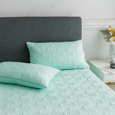 2019新款纯色水洗棉夹棉枕套 48cmX74cm/对 波浪纹-绿