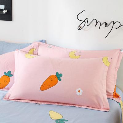 2019新款全棉12868单品枕套(2) 48cmX74cm/对 萝卜粉
