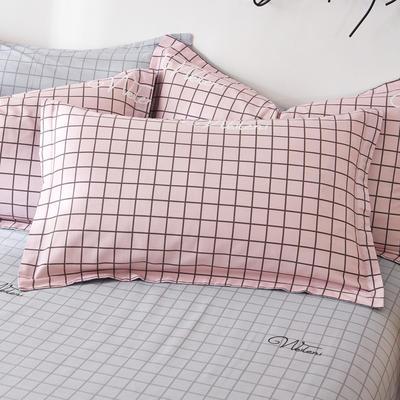 2019新款全棉12868单品枕套(2) 48cmX74cm/对 淑女格粉